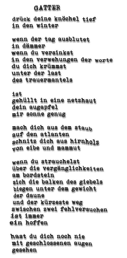 GATTER    -gedicht-