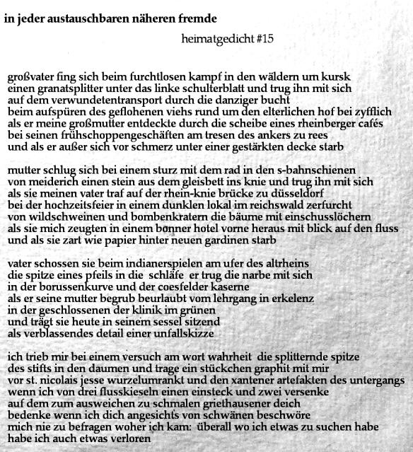 Sunday Poem Heimatgedicht 15 Dingfest