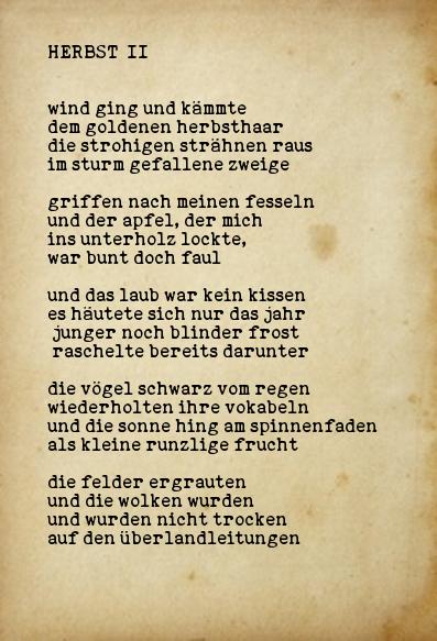 Über herbst gedicht Im Herbst